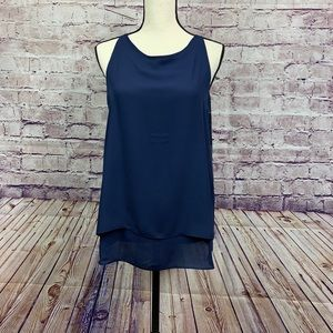 Willi Smith Navy Sleeveless Blouse NWOT